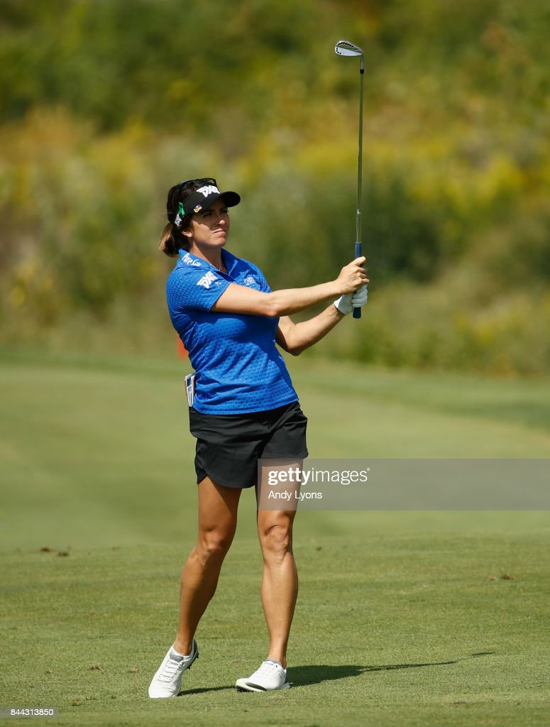 Gerina Piller hits her second shot on the 6th hole during the second round of the Indy Women In Tech Championship-Presented By Guggenheim at the Brickyard Crossing Golf Course on September 8, 2017 in Indianapolis, Indiana.