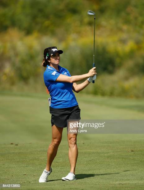 Gerina Piller hits her second shot on the 6th hole during the second round of the Indy Women In Tech ChampionshipPresented By Guggenheim at the...