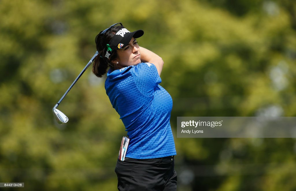 Gerina Piller hits her tee shot on the 6th hole during the second round of the Indy Women In Tech Championship-Presented By Guggenheim at the Brickyard Crossing Golf Course on September 8, 2017 in Indianapolis, Indiana.