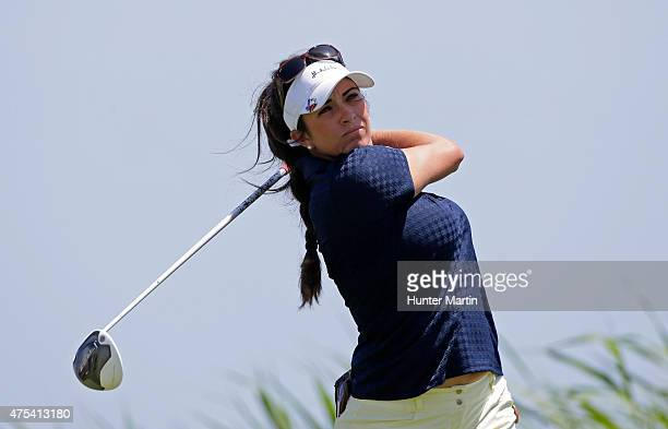 Gerina Piller hits her tee shot on the third hole during the final round of the ShopRite LPGA Classic presented by Acer on the Bay Course at the...