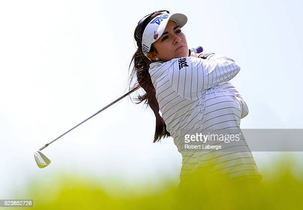 Gerina Piller makes a tee shot on the third hole during the final round of the Swinging Skirts LPGA Classic presented by CTBC at the Lake Merced Golf...