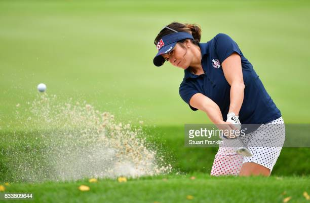 Gerina Piller of Team USA plays a bunker shot during practice prior to The Solheim Cup at Des Moines Golf and Country Club on August 17 2017 in West...