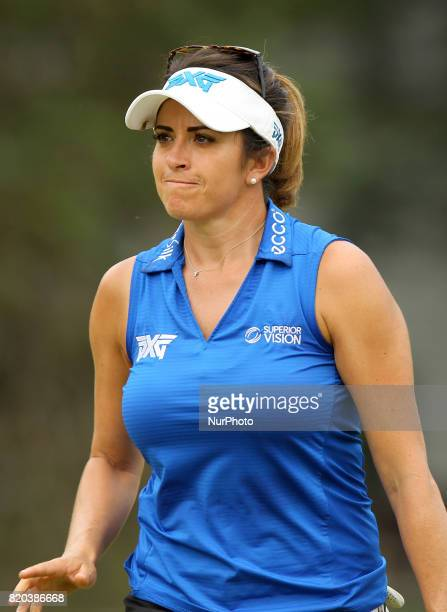 Gerina Piller of the United States acknowledge the crowd after her birdie on the third green during the second round of the Marathon LPGA Classic...