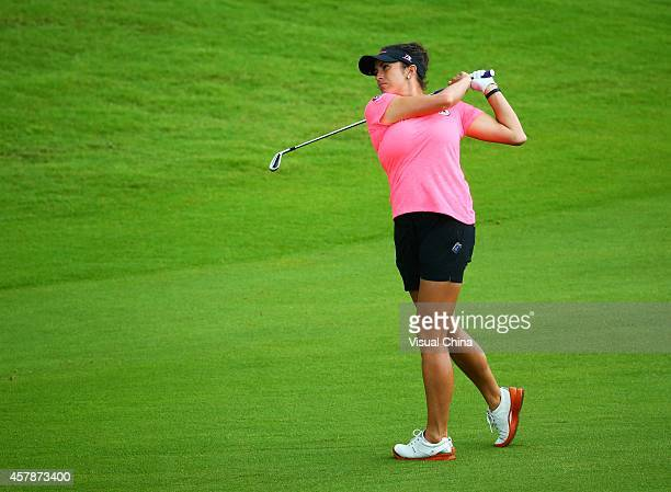 Gerina Piller of the United States hits a shot during day four of the 2014 Blue Bay LPGA at Jian Lake Blue Bay Golf Course on October 26 2014 in...