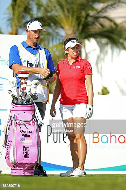 Gerina Piller of the United States looks on from the eighth tee box during round two of the Pure Silk Bahamas LPGA Classic on January 27 2017 in...
