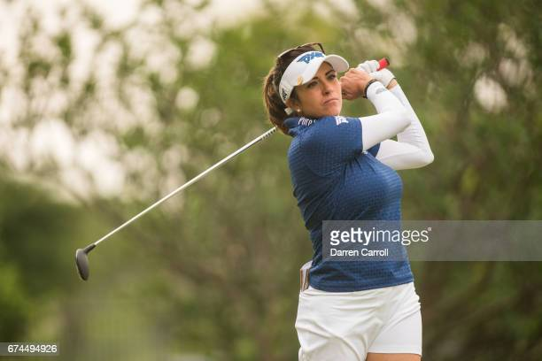 Gerina Piller of the United States plays a tee shot at the second hole during the second round of the Volunteers of America North Texas Shootout at...