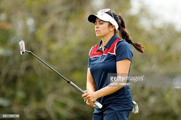 Gerina Piller of the United States reacts to a missed putt on the 13th green during the Women's Golf Final on Day 15 of the Rio 2016 Olympic Games at...