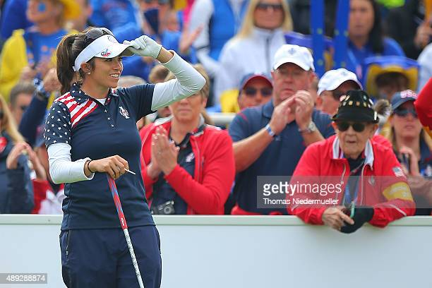 Gerina Piller of the United States Team looks on at the first tee during the Sundays single matches in the 2015 Solheim Cup at St LeonRot Golf Club...