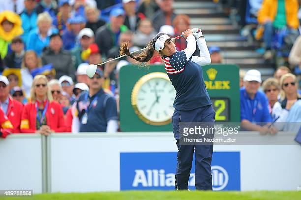 Gerina Piller of the United States Team shots the ball at the first tee during the Sundays single matches in the 2015 Solheim Cup at St LeonRot Golf...