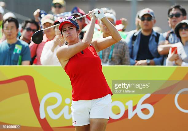 Gerina Piller of the United States watches her tee shot on the first hole during the third round of the Women's Individual Stroke Play golf on Day 14...