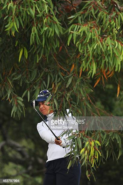 Gerina Piller of the USA hits an approach on the 12 hole during day one of the LPGA Australian Open at Royal Melbourne Golf Course on February 19...
