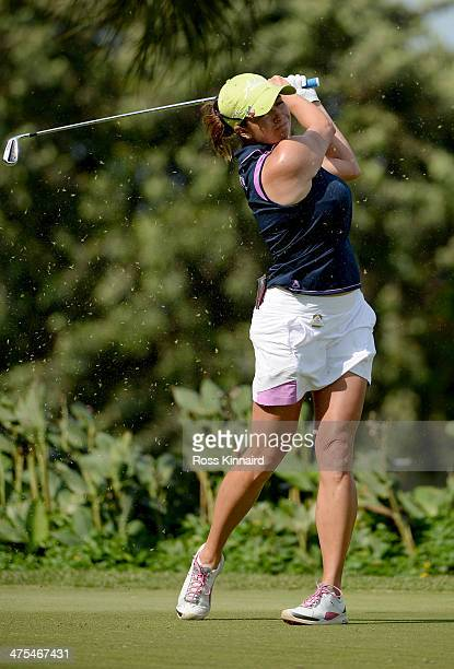 Gerina Piller of the USA watches her tee shot during the second round of the HSBC Women's Champions at the Sentosa Golf Club on February 28 2014 in...