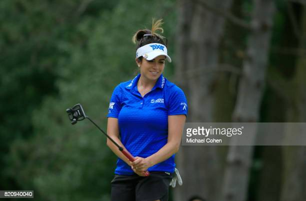Gerina Piller reacts to her birdie miss on the fifth green during the third round of the Marathon Classic Presented By Owens Corning And OI held at...