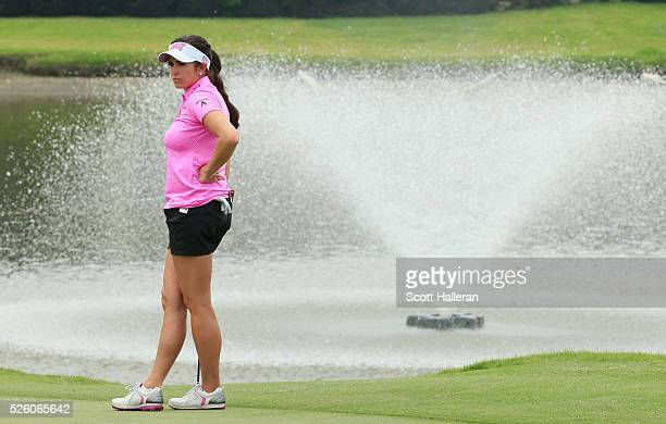 Gerina Piller waits on the 18th green during the second round of the Volunteers of America Texas Shootout at Las Colinas Country Club on April 29...