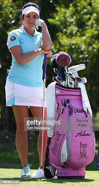 Gerina Piller waits to hit a tee shot during Round One of the North Texas LPGA Shootout Presented by JTBC at the Las Colinas Country Club on May 1...
