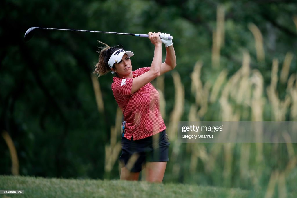 Gerina Piller watches her tee shot on the 16th hole during the first round of the 2017 KPMG PGA Championship at Olympia Fields Country Club on June 28, 2017 in Olympia Fields, Illinois.