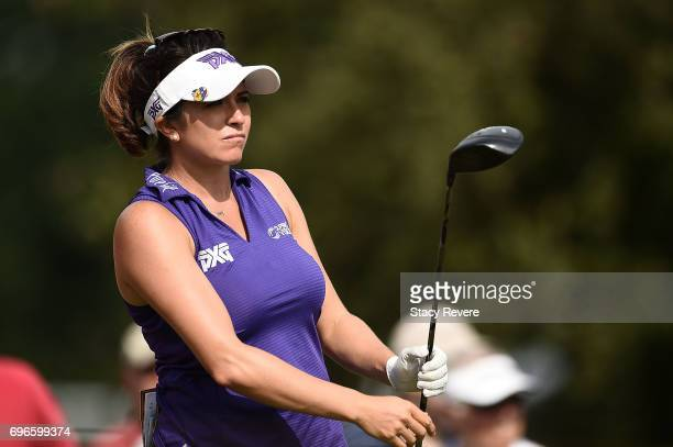 Gerina Piller watches her tee shot on the 16th hole during the second round of the Meijer LPGA Classic at Blythefield Country Club on June 16 2017 in...