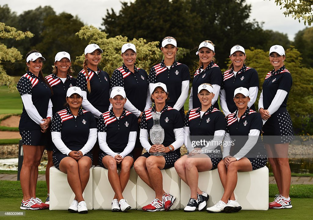 Gerine Piller, Angela Stanford, Alison Lee, Brittany Linicome, Michelle Wie, Lexi Thompson, Brittany Lang and Paula Creamer. (front row left to right) Lizette Salas, Stacy Lewis, Team USA Captain Juli Inkster, Morgan Pressel and Cristie Kerr of Team USA pose for a photograph prior to the start of the Solheim Cup at St Leon-Rot Golf Club on September 15, 2015 in St. Leon-Rot, Germany.