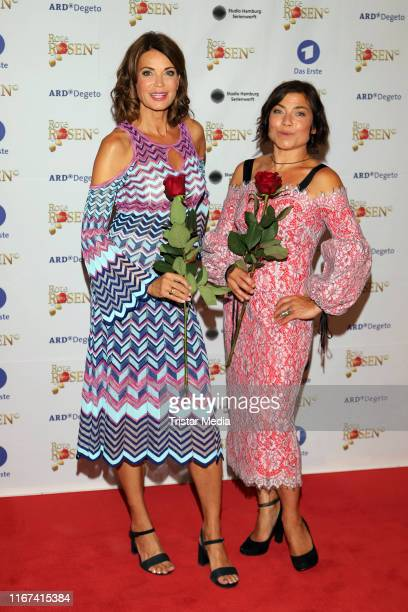 Gerit Kling and Claudia Schmutzler attend the TV series 'Rote Rosen' celebrates 3000 episodes event on August 10 2019 in Luneburg Germany