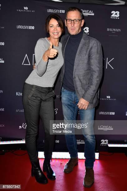 Gerit Kling and her husabnd Wolfram Becker attend the Apjar Black studio opening on November 17, 2017 in Berlin, Germany.
