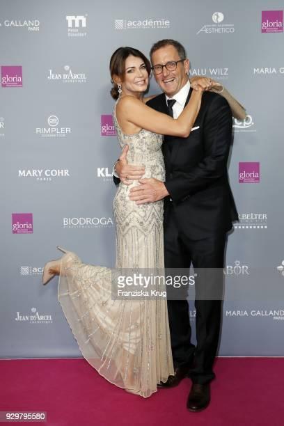 Gerit Kling and her husband Wolfram Becker attend the Gloria - Deutscher Kosmetikpreis at Hilton Hotel on March 9, 2018 in Duesseldorf, Germany.