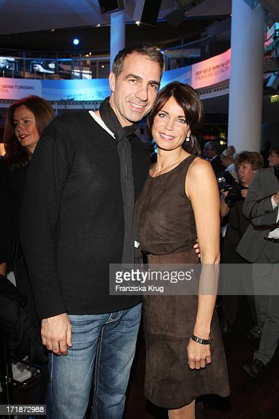 Gerit Kling and husband Stefan Henning at the Premiere Of Germany BMW 5 Series Gran Turismo in Berlin