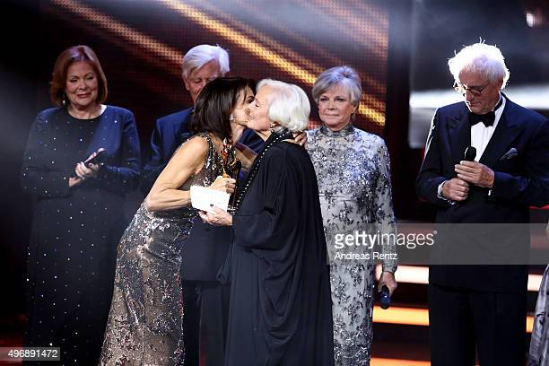 Gerit Kling Ruth Maria Kubitschek Gritt Boettcher and cast members of the German TV Series Traumschiff on stage during the Bambi Awards 2015 show at...