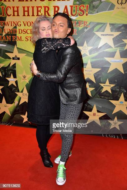 Gerlinde Jaenicke and Julian FM Stoeckel during the Public Viewing Of the TV Show 'Ich bin ein Star Holt mich hier raus' on January 19 2018 in Berlin...
