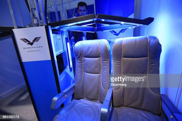 """Germ Falcon ultraviolet """"C"""" light germ killer device sits on display at the Aircraft Interiors Expo in Hamburg, Germany, on Tuesday, April 4, 2017...."""