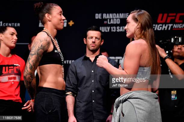 Germaine de Randamie of the Netherlands and Aspen Ladd face off during the UFC Fight Night weighins at Golden 1 Center on July 12 2019 in Sacramento...