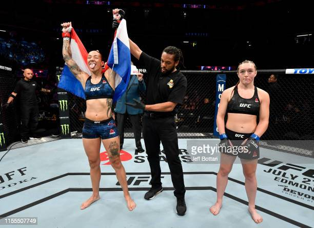 Germaine de Randamie of the Netherlands celebrates after her TKO victory over Aspen Ladd in their women's bantamweight bout during the UFC Fight...