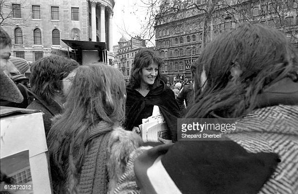 Germaine Greer talking to fellow protestors at the first women's liberation march in London. Over 4,000 women took part in the demonstration.