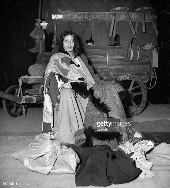 Germaine Montero in Mother Courage and Her Children of Bertolt Brecht Production of Jean Vilar TNP Festival of Suresnes November 1952 LIP062045034