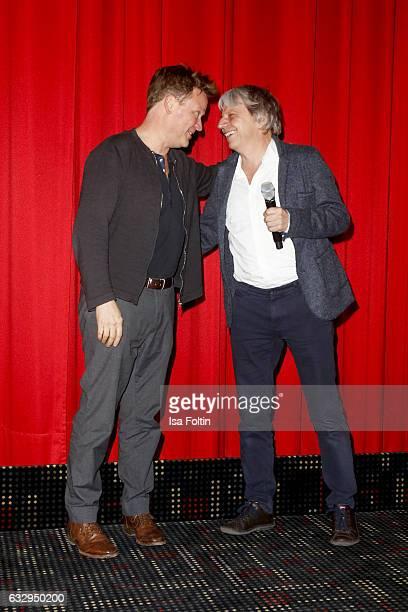 German acor Justus von Dohnanyi and director Andreas Dresen attend the 'Timm Thaler oder das verkaufte Lachen' Premiere on January 28 2017 in Leipzig...