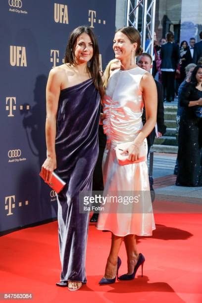 German actess Bettina Zimmermann and German actress Jessica Schwarz attend the UFA 100th anniversary celebration at Palais am Funkturm on September...