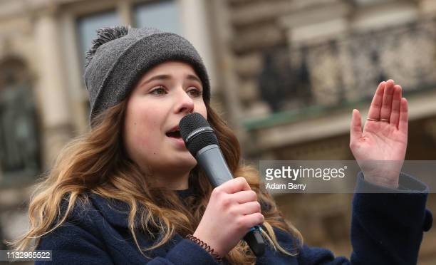 German activist and organizer Luisa Neubauer demonstrates with high school students against global warming at a Fridays for Future demonstration on...