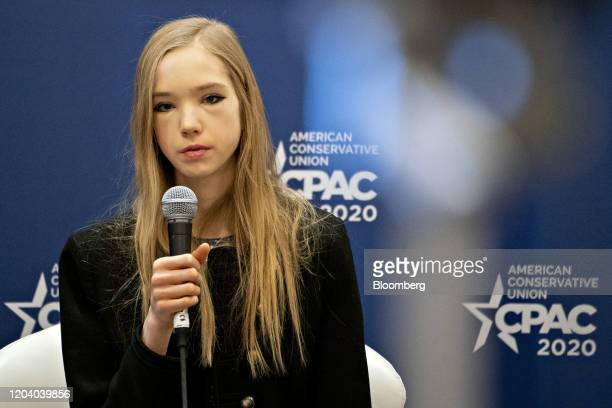 German activist Naomi Seibt speaks during a discussion at the Conservative Political Action Conference in National Harbor Maryland US on Friday Feb...
