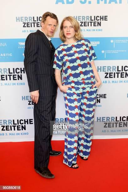 German actor Alexander Scheer and German actress Caroline Peters during the 'Herrliche Zeiten' Premiere In Berlin at Kino International on April 24...