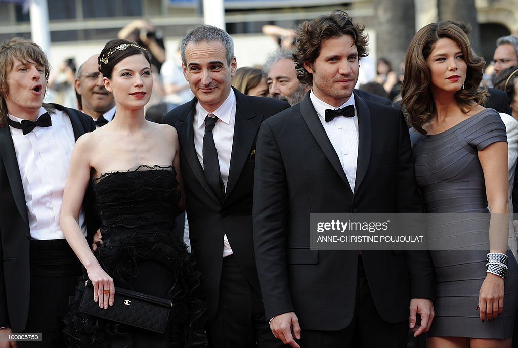 German actor Alexander Scheer, Austrian actress Nora Von Waldstatten, French director Olivier Assayas and Venezuelian born actor Edgar Ramirez playing in the film 'Carlos' arrive for the screening of 'Poetry' presented in competition at the 63rd Cannes Film Festival on May 19, 2010 in Cannes.
