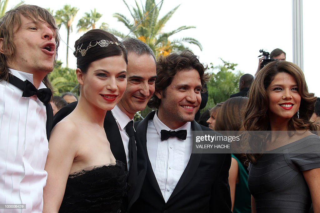 German actor Alexander Scheer, Austrian actress Nora Von Waldstatten, French director Olivier Assayas and Venezuelian born actor Edgar Ramirez, Colombian actress Juana Acosta playing the the film 'Carlos' arrive for the screening of 'Poetry' presented in competition at the 63rd Cannes Film Festival on May 19, 2010 in Cannes.