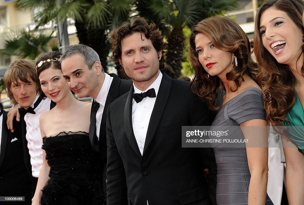 German actor Alexander Scheer, Austrian actress Nora Von Waldstatten, French director Olivier Assayas and Venezuelian born actor Edgar Ramirez and Colombian actress Juana Acosta (2ndR) playing in the film 'Carlos' arrive for the screening of 'Poetry' presented in competition at the 63rd Cannes Film Festival on May 19, 2010 in Cannes.