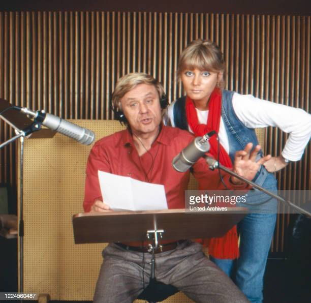 German actor and audio play speaker Horst Frank and his wife Brigitte Kollecker producing an audio drama Germany circa 1979
