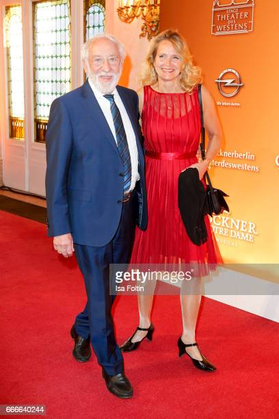 German actor and comedian Dieter Hallervorden and his girlfriend Christiane Zander attend the premiere of the musical 'Der Gloeckner von Notre Dame'...