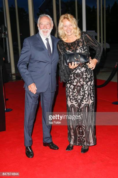 German actor and comedian Dieter Hallervorden and his girlfriend Christiane Zander attend the UFA 100th anniversary celebration at Palais am Funkturm...
