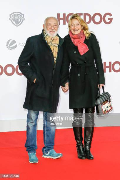 German actor and comedian Dieter Hallervorden and his partner Christiane Zander attend the 'Hot Dog' world premiere at CineStar on January 9 2018 in...