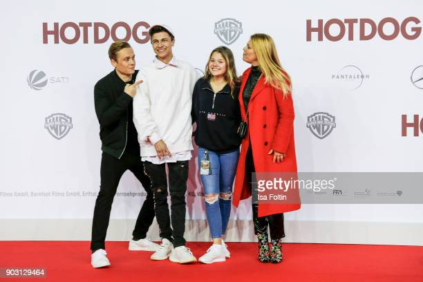 German actor and producer Matthias Schweighoefer singer and youtube star Lukas Rieger youtubestar and actress Faye Montana and her mother German...