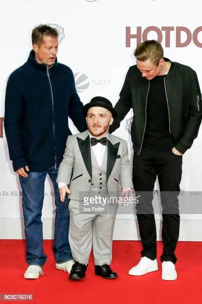 German actor and producer Til Schweiger actor Leigh Gill and German actor and producer Matthias Schweighoefer attend the 'Hot Dog' world premiere at...