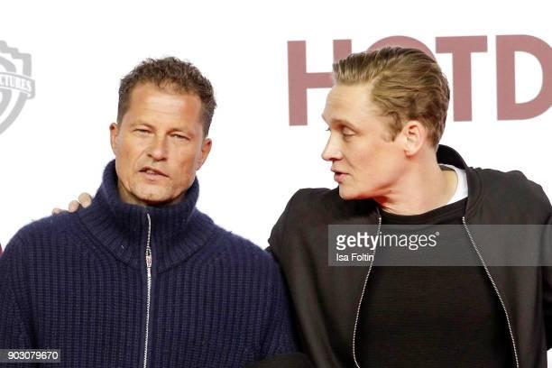 German actor and producer Til Schweiger and German actor and producer Matthias Schweighoefer attend the 'Hot Dog' world premiere at CineStar on...