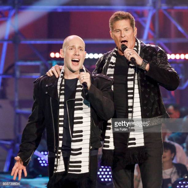 German actor and singer Oli P and US actor and singer David Hasselhoff during the tv show 'Heimlich Die grosse SchlagerUeberraschung' on March 17...