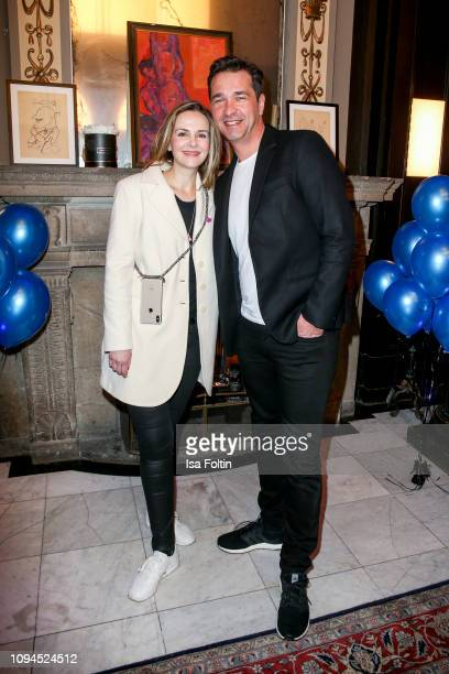 German actor Andreas Elsholz and his wife Denise Zich attend the Blaue Blume Awards at Restaurant Grosz on February 6 2019 in Berlin Germany